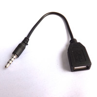 Wholesale 30pcs mm Male to USB A Female audio Adapter Cable cord wire black