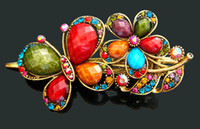 Wholesale hot sell vintage fashion Hair Jewelry zinc alloy rhinestone Butterfly hair clip hair accessories Mixed colors HP372