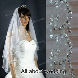 Wholesale New Style Two Layer T with Comb Attached Exquisit Sequin Beaded Bridal Accessory Elbow Wedding Bridal Veil
