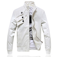 Wholesale White men s fashion men s leather motorcycle Korean Slim PU leather jacket short paragraph thin black leather jacket