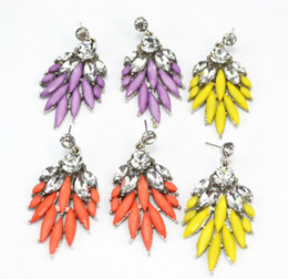 New Coming Fluorescence Silver Plated Alloy Resin Gem Leaf Crystal Dangle Stud Earrings