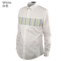 Wholesale 2013 White Shirt Brand Designer Mens Shirts Fashion Mens Clothing Colorful Stripe Matching Retail Free Shipment