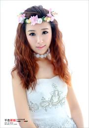 Wholesale Bridal flowers colorful garland Korean wedding bridesmaid headdress flower forest wedding head hair accessories