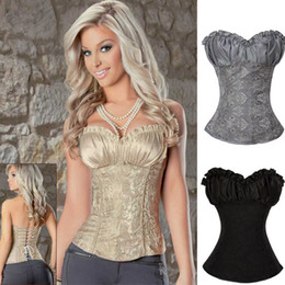 Wholesale 3 Colors Hot Sale Corset and Bustier Satin Grey khaki Black Corset Body Shaper for Women