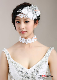 Wholesale The bride headdress flower necklace suits summer flowers bloom handmade lace Korean diamond wedding hair accessories