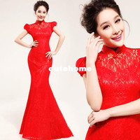 Wholesale Bride cheongsam dress wedding toast clothes back door retro fishtail wedding gown Chinese dress long section