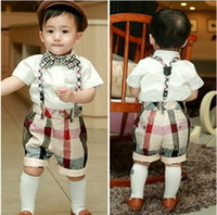 Plaid 1T-2T-3T-4T-5T Boy Free Shipping Summer Baby Boys Gentleman Bow Tie Short Sleeve Shirt Plaid Suspender Trousers Overalls Suit Infant Toddlers Clothing Garments