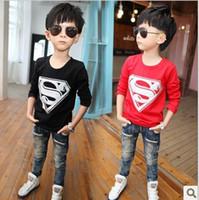 Wholesale Bran New Fashion Children s T shirts boys long sleeve superman t shirts children popular tops primer shirt
