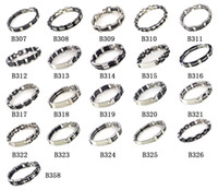 Wholesale Men s Stainless Steel Bracelet Bangle Silica Gel Silver Tone Link Fashion Bracelet B307 B326 B358