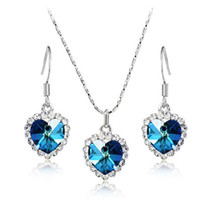 Wholesale Swarovski Elements High Quality Austrian Crystal Ocean Heart Pendant Necklace Dangle Earrings Fashion Jewelry Set Sets