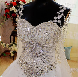 Wholesale In Stock Newest Sexy Luxury White Swarovski Crystal Appliques Backless Zipper Organza Wedding Dress Brida Dress