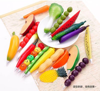 Wholesale New Stationery Cute Simulation Fruit and vegetable shaped ballpoint pen magnet ball pen for student kids best2011