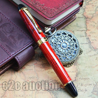 Wholesale JINHAO CORAL RED AND GOLDEN FOUNTAIN PEN BROAD NIB MORBIDEZZA LINE CARVE