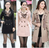 Wholesale 2012 HOT Womens Lady Double Breasted Long Scarf Coat Outwear M XXL