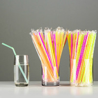 Wholesale Length cm Thin Plastic Straws Flexible DRINKING STRAWS Individually Wrapped Party Favors ctn XG016