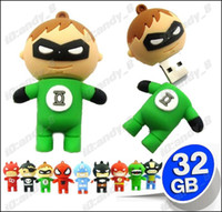 Wholesale 10pcs Green Lantern GB Mixed Cartoon USB Flash Memory Pen Drive Drives Stick Sticks Pendrives Thumbdrive High Speed Cheap