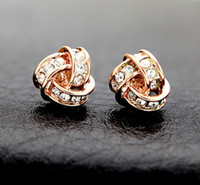 Wholesale 800272 Rose Gold Golden Fashion Pretty Women Knot Stud Earrings diamante Antiallergic Jewelry Brand New
