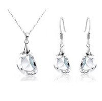 Wholesale Fashion Swarovski Elements Crystal Jewelry Sets Best Gift For Lover Silver Jewelry Set Austrian Crystal Necklace Earrings Sets Lo