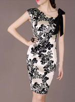 Women's Dresses K91 Elegant Simple black printing Silk V- Nec...