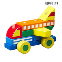 Wholesale Wooden baby education used colorful build blocks aircraft fire engine DIY toy
