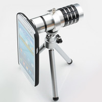 Wholesale 12X Optical Zoom Telescope Camera lens kits magnifier with tripod back case for samsung Galaxy S3 i9300 S4 N7100 Iphone s smart phone