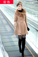 Wholesale 2013 Autumn Winter New Authentic Korean Version Of The Big Buckle Coat Rabbit Fur Collar Wool Coat women warm coat