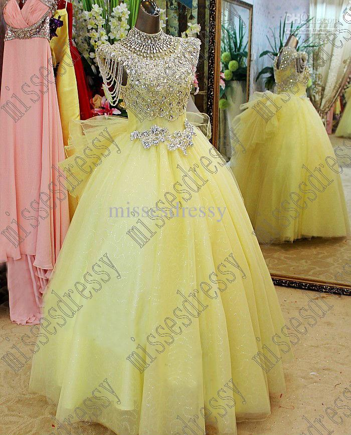 Hot sale beautiful yellow ball gown wedding dresses high for Yellow wedding dresses for sale
