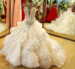 Wholesale Best Selling Exquisite White A Line Wedding Dresses Sweetheart Organza Crystals Sequins Print Ruched Lace up Bow Chapel Train Bridal Dress