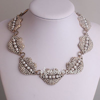 artificial lips - New Arrival Fashion Artificial Pearl amp Crystal Statement Sexy Lip Choker Necklaces PBN