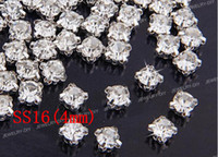 pingfang Good Clear Free shipping SS16(4mm) Silver Loose Crystal Sew On Rhinestone Beads(1440pcs set)