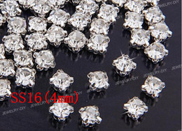 Free shipping SS16(4mm) Silver Loose Crystal Sew On Rhinestone Beads(1440pcs set)
