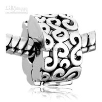 Wholesale New silver Clip Lock Round Stopper Spacer Fit All Brands Beads Charms Bracelets mix