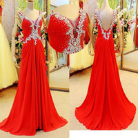 Wholesale Real Image Classic Sequin Crystal Evening Dress Red Light Sky Blue V Neck A Line Backless