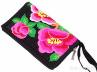 Wholesale ZJ Hand bag new national wind embroidery cloth bag Peony Wallets cm