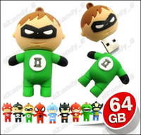 Wholesale 10pcs Green Lantern GB Mixed Cartoon USB Flash Memory Pen Drive Drives Stick Sticks Pendrives Thumbdrive High Speed Cheap Sale