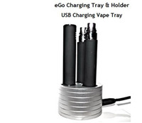 Electronic Cigarette aluminium trays - Electronic cigarette Charging vape tray USB Vape Tray Aluminium Triple Holder with charging Slot compatible with ego t evod ego q battery