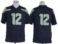 Football Men Short Seahawks #12 Fan Blue Jersey Top Qulaity Sports Jerseys Football Jerseys Sportswears USA Mens Stitched Logo Seahawk Uniform