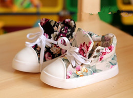 Wholesale Fashion Children Athletic Shoes Side Part Flower Floral Individuality Boys Girls Canvas Shoes Year Baby Kids Sneaker pair QS511
