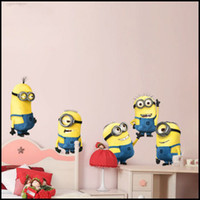 Removable PVC Cartoon Despicable Me Minion Movie Wall Decal Removable Wall Sticker Home Decor Art Kids Nursery Loving Gift 2013 New Design 2pcs lot Free Shipping