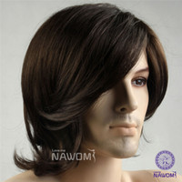 Wholesale Handsome Men Wigs Oblique Bangs Kinky Curly Synthetic Wig For Party Festival Natural Looking Glueless Cheap Wigs Best Service W3520