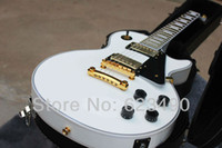 Wholesale Best Price HOT Top Quality White LP CUSTOM Shop Guitar Golden Hardware Ebony Frets Electric Guitar with Hardcase