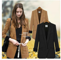 Women Middle_Length Polyester 2014 New Fashion Autumn Women Middle-Length Slim waist long-sleeved shrugging dark button design Suits, Business Suit Coat Outwear Apparel