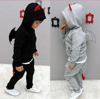 Unisex baby devil suit - Bran new Super Cute Angel Wings Set baby clothing suits boy little devil shape Hoodie Pants Children s leisure suit