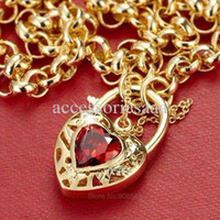 9ct gold - 9ct K Gold plated new design Solid Men Women Belcher Jewellery Ruby Red Filigree Heart Fashion Chain Necklace N292