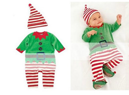 Wholesale New arrival children christmas clothing Christmas Costume Santa Baby romper cap set Santa Claus chothes erbaby