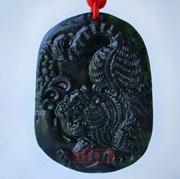Hand-carved natural jade peace buckle black jade tiger amulet pendant necklace brand 01