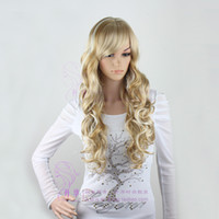 Wholesale 2015 Cheap best quality sexy gold color for blonde women human cosplay curly hair wigs cf023