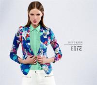 Wholesale 279770 Fashion Euro Style Women Long Sleeve Notched Big Flower Print Blazer Casual Women Blazer
