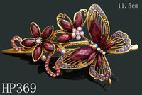 Barrettes & Clips wholesale hair barrettes - hot vintage hair jewelry Zinc alloy rhinestone Butterfly hair clips hair accessories Mixed colors HP369