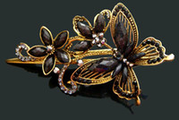 Wholesale Hot Sale vintage hair jewelry Zinc alloy rhinestone Butterfly hair clips hair accessories Mixed colors HP369